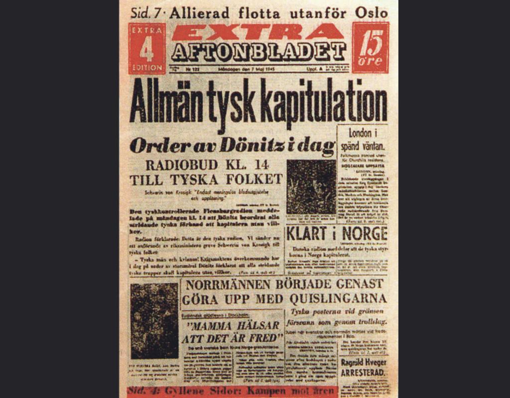 Extra! Aftonbladets förstasida fredagen den 7 maj 1945. Tyskland har kapitulerat villkorslöst och andra världskriget tar slut i Europa. Glädjescener utbryter i hela Sverige, mest kända är bilderna från Kungsgatan i Stockholm. Foto: AFTONBLADET