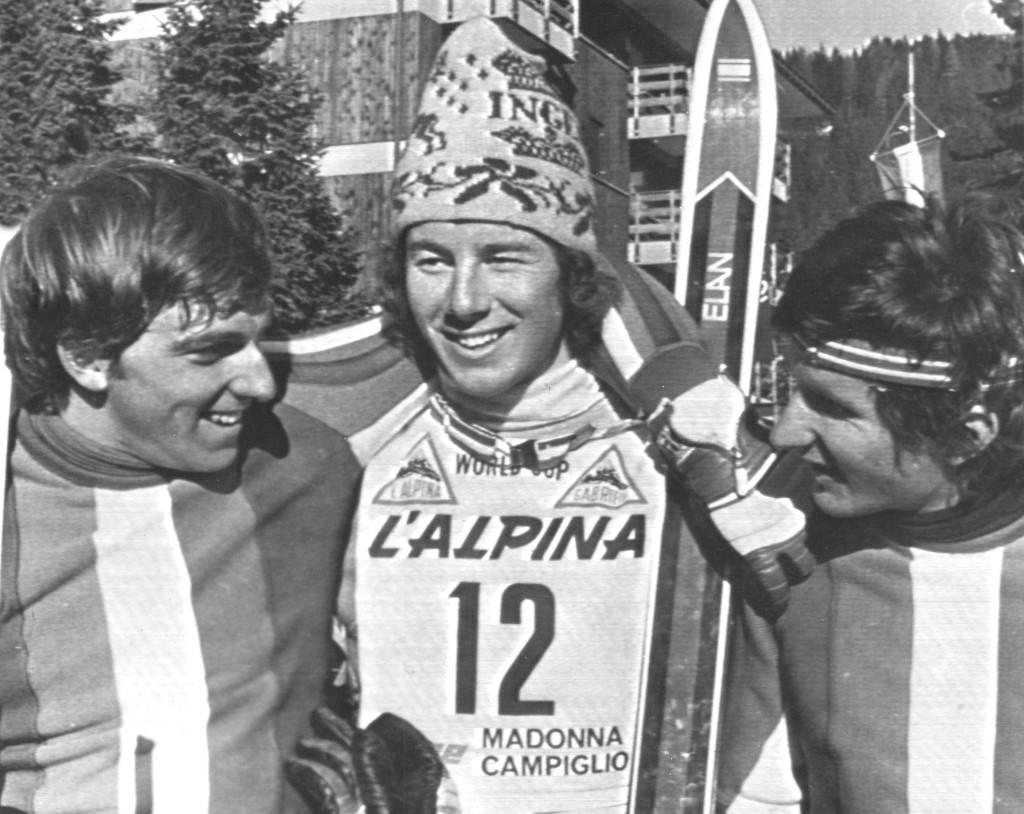 Världscupen i slalom 1974. Ingemar Stenmark vinner sin första världscuptävling i Madonna di Campiglio. Resten av 1970-talet är hans och framgångarna håller i sig en bra bit in på 1980-talet. Fotograf: AP