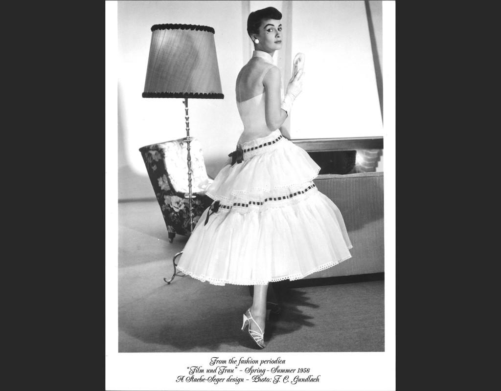 Unga kvinnor har snusnäsduk runt halsen, prickiga ballerinaskor, axellös klänning med korsettliv och vidd i kjolen, ungefär som denna.