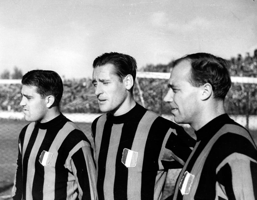 Fotbollsproffsen Gunnar Gren, Gunnar Nordahl och Nils Liedholm.